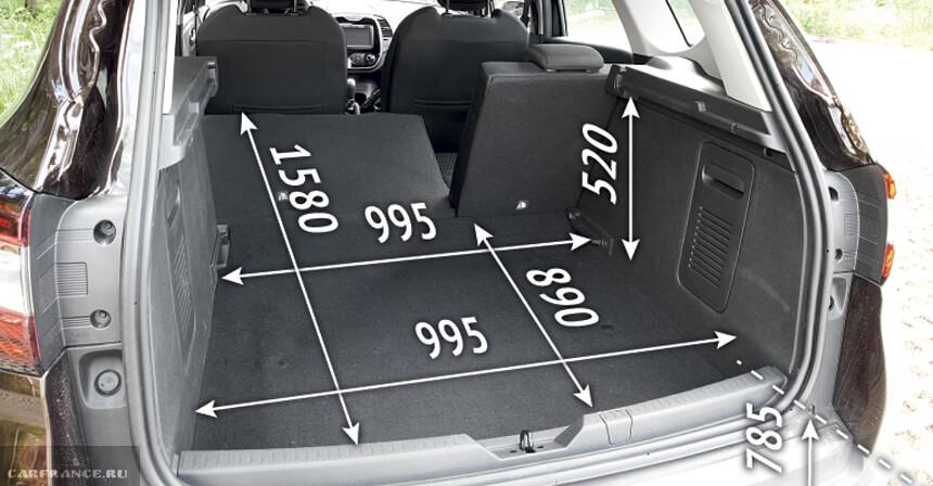 размер багажника рено каптур